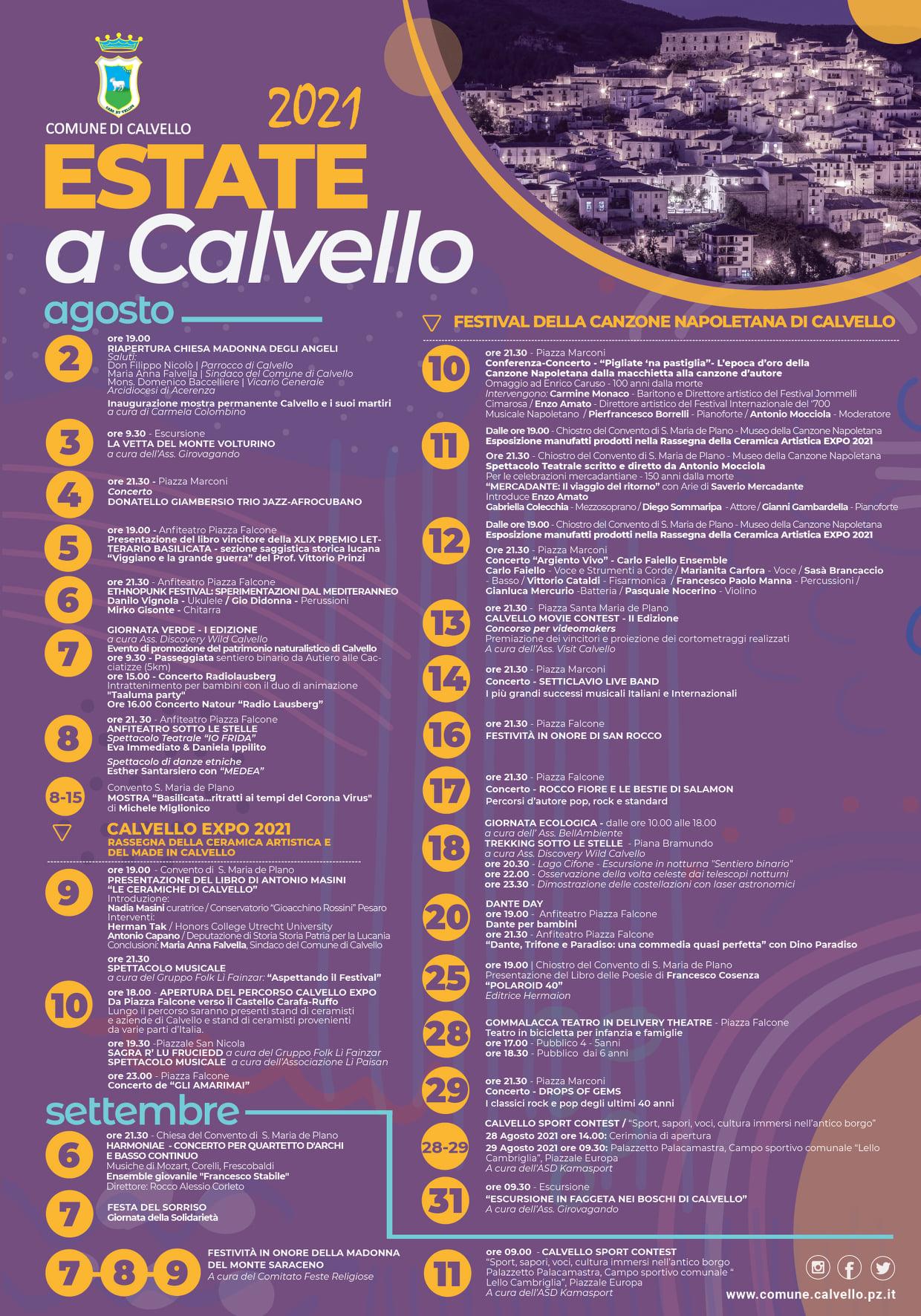 calendario Estate Calvello 2021